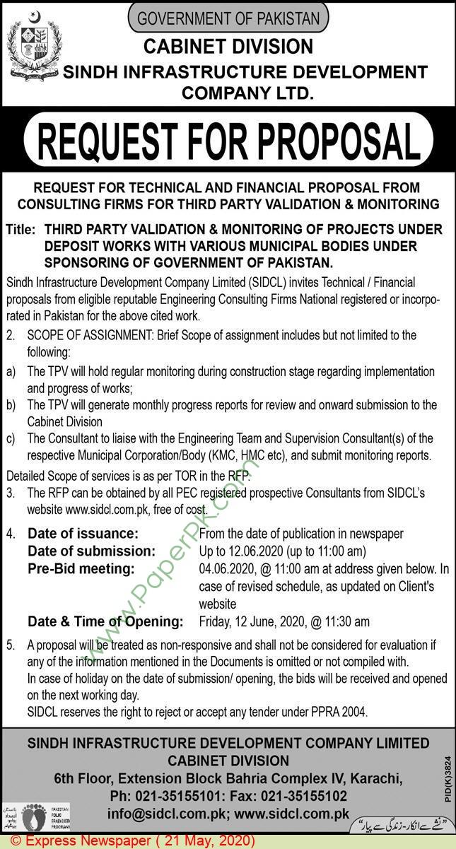 Cabinet Division Karachi Tender Notice