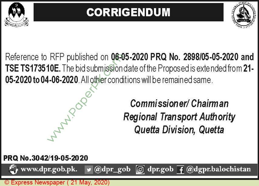Regional Transport Authority Quetta Tender Notice
