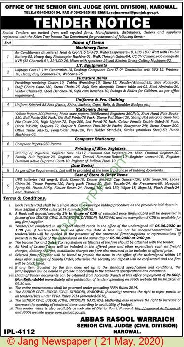 Civil Division Narowal Tender Notice