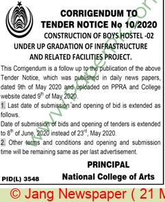 National College Of Arts Lahore Tender Notice