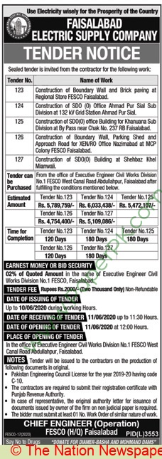 Fesco Faisalabad Tender Notice
