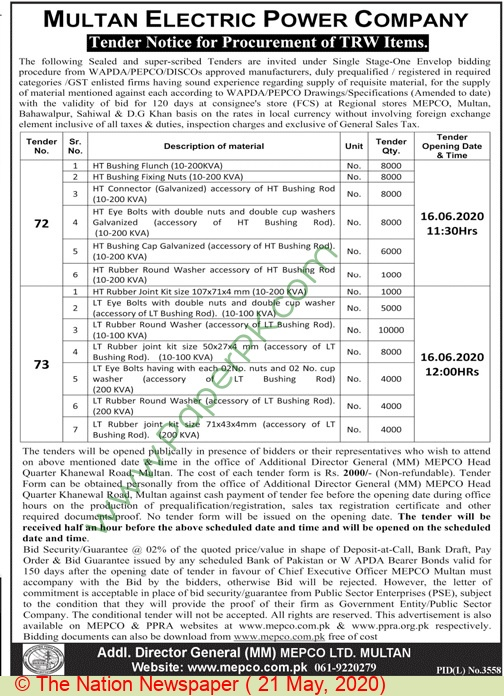 Mepco Multan Tender Notice