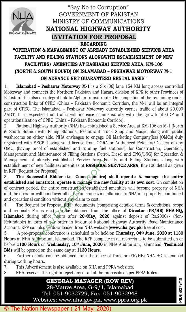 Nha Islamabad Tender Notice.