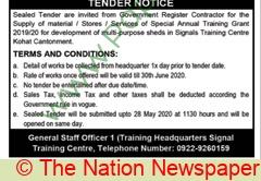 Pakistan Army Kohat Tender Notice.