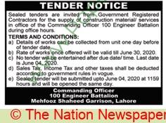 Pakistan Army Lahore Tender Notice.