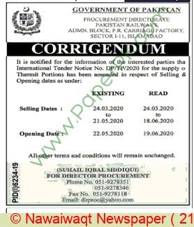 Pr Lahore Tender Notice..