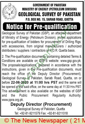 Ministry Of Energy Quetta Tender Notice