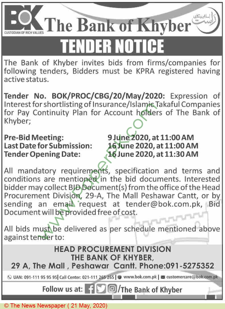 The Bank Of Khyber Tender Notice
