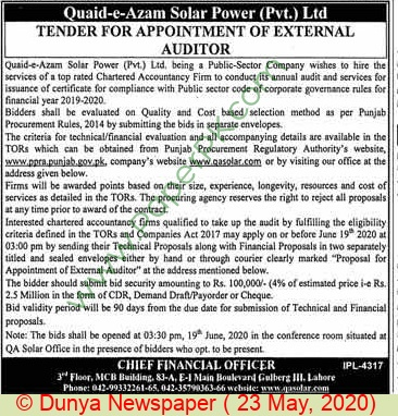 Quaid E Azam Solar Power Private Limited Lahore Tender Notice