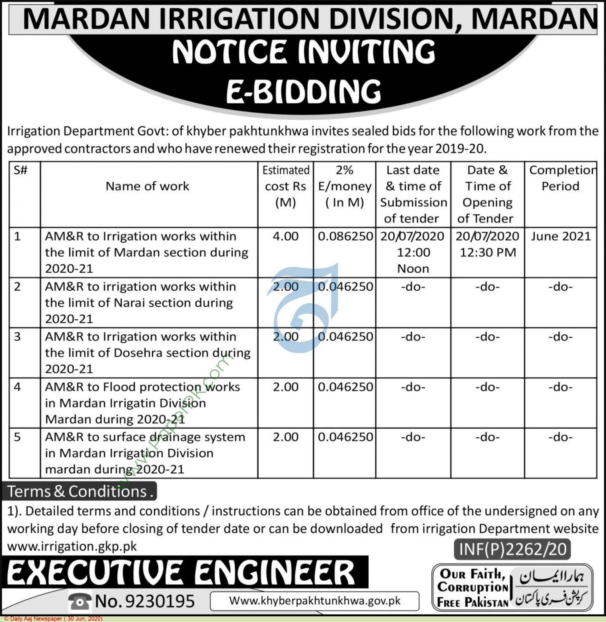 Irrigation Department Mardan Tender Notice