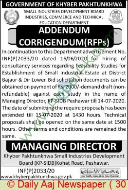 Kpk Small Industries Development Board Peshawar Tender Notice