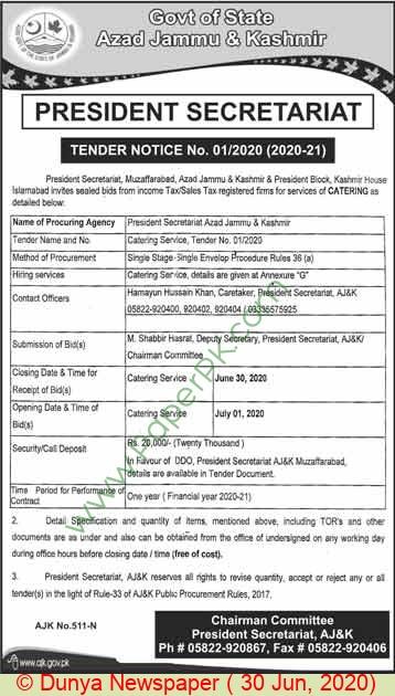 President Secretariat Muzaffarabad Tender Notice
