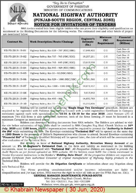 National Highway Authority Multan Tender Notice