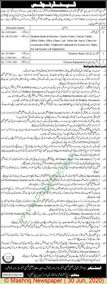 Education Department Nowshera Tender Notice