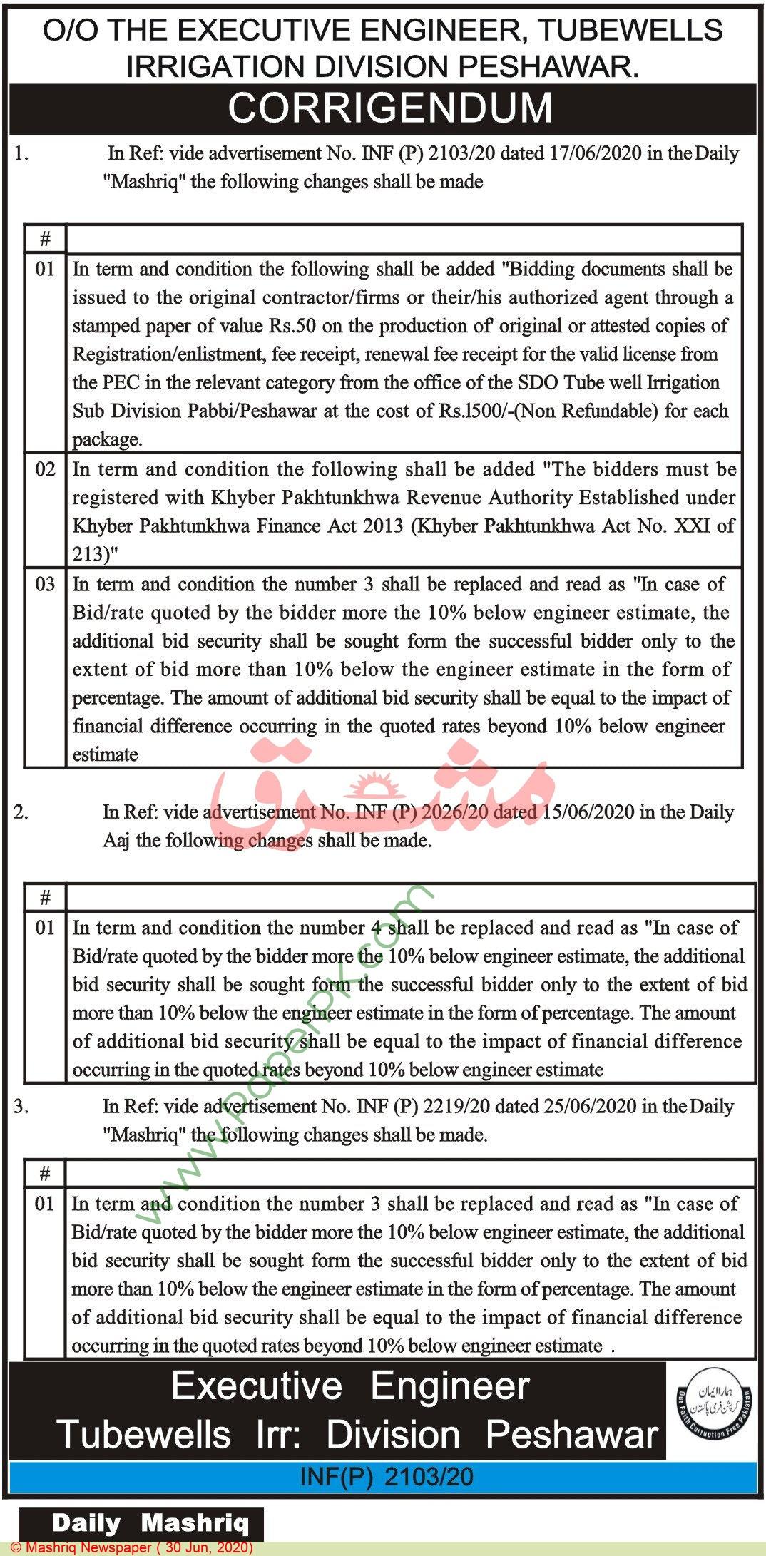 Irrigation Department Peshawar Tender Notice