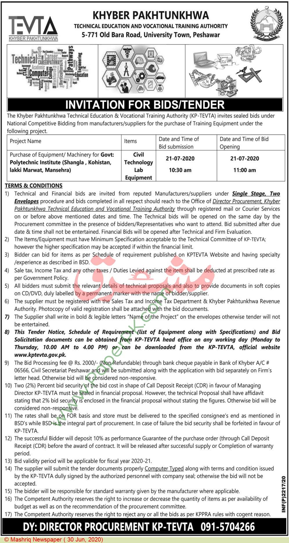 Kptevta Peshawar Tender Notice