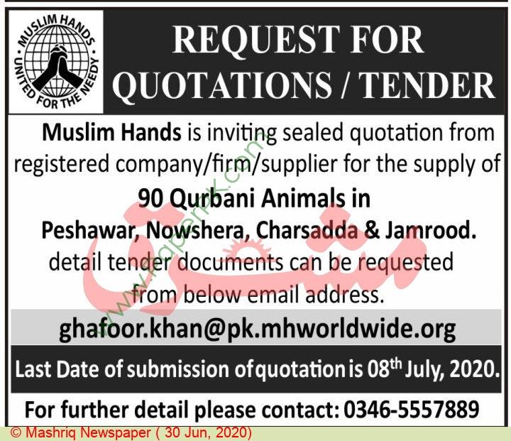 Muslim Hands Islamabad Tender Notice