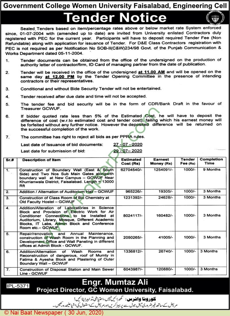 Gc Women University Faisalabad Tender Notice