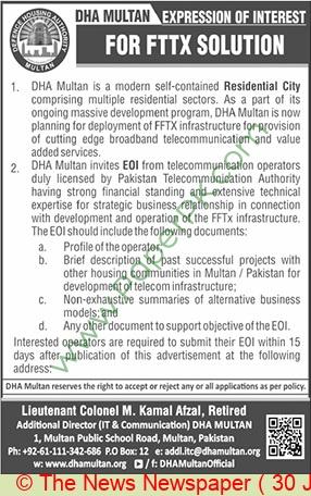 Dha  Multan Tender Notice