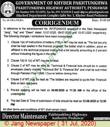 Pkha Peshawar Tender Notice