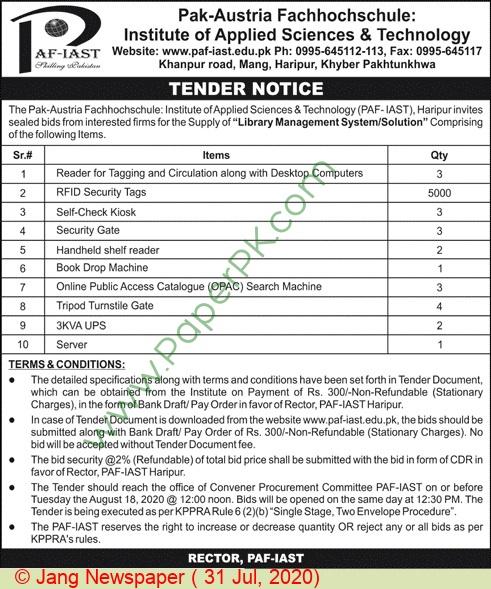 Pak Austria Fachhochschule Institute Of Applied Science & Technology Haripur Tender Notice