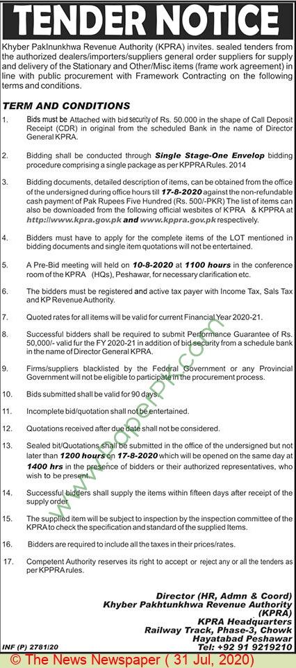 Kpra Peshawar Tender Notice