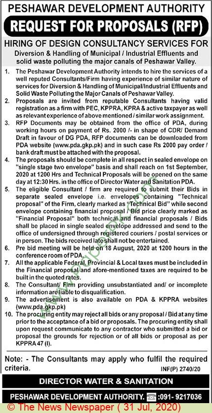 Pda Peshawar Tender Notice