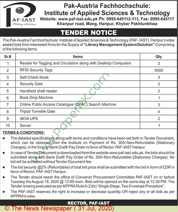 Pak Austria Fachhochschule Institute Of Applied Science & Technology Haripur Tender Notice