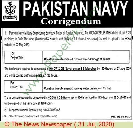 Pakistan Navy Islamabad Tender Notice