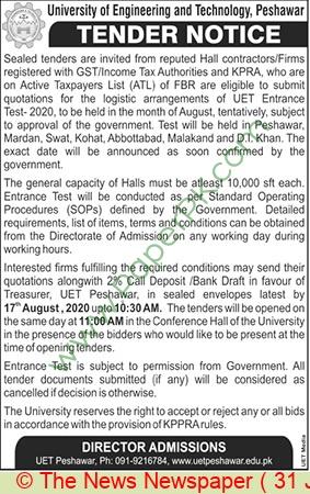Uet Peshawar Tender Notice