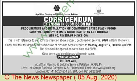 Aga Khan Planning & Building Service Islamabad Tender Notice