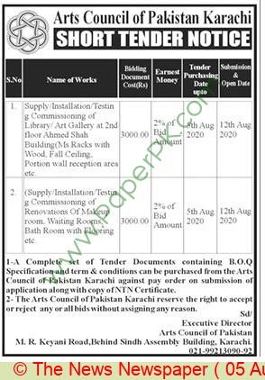 Arts Council Of Pakistan Karachi Tender Notice