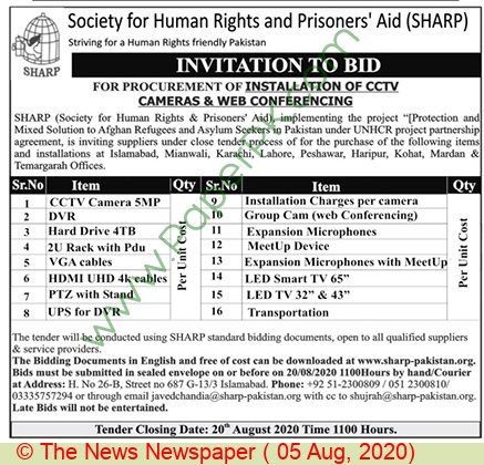 Society For Human Rights & Prisoners Aid Islamabad Tender Notice