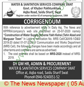 Water & Sanitation Services Company Swat Tender Notice (2)