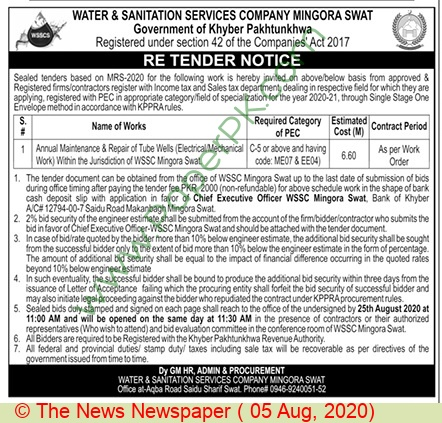 Water & Sanitation Services Company Swat Tender Notice