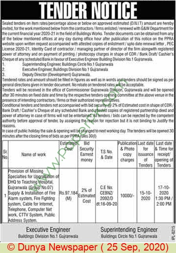 Building Division Gujranwala Tender Notice(1)