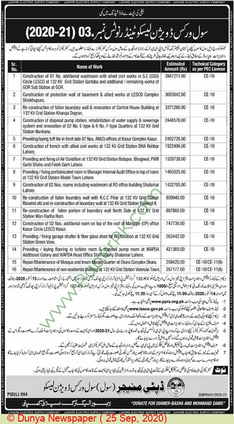 Lahore Electric Supply Company Lahore Tender Notice