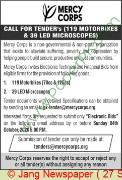 Mercy Corps Islamabad Tender Notice