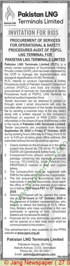 Pakistan Lng Limited Islamabad Tender Notice