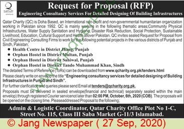 Qatar Charity Islamabad Tender Notice