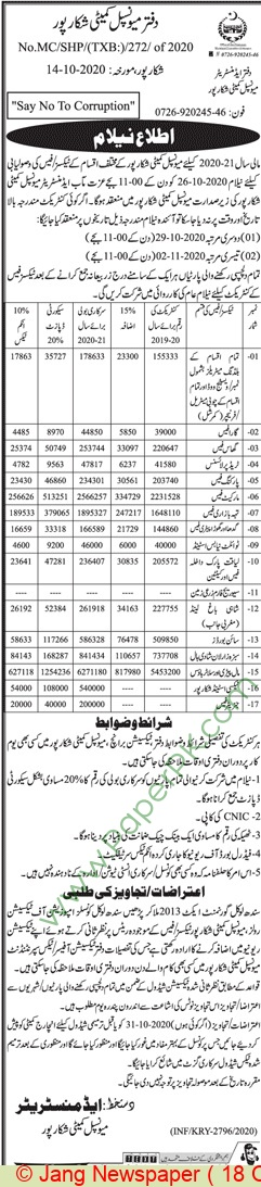 Municipal Committee Shikarpur Auction Notice