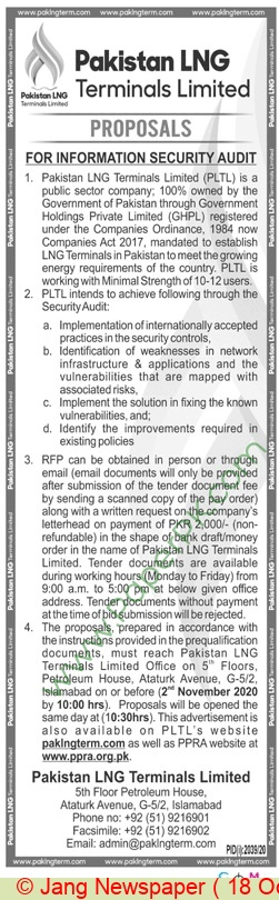 Pakistan Lng Terminals Limited Islamabad Tender Notice
