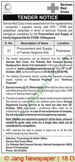 Pakistan Red Crescent Society Islamabad Tender Notice