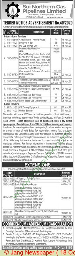 Sui Northern Gas Pipelines Limited Lahore Tender Notice (3)