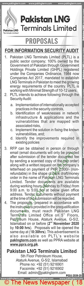 Pakistan Lng Terminals Limited Islamabad Tebder Notice