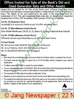 Bank Al Falah Karachi Tender Notice