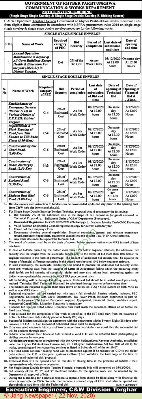 Communication & Works Department Torghar Tender Notice
