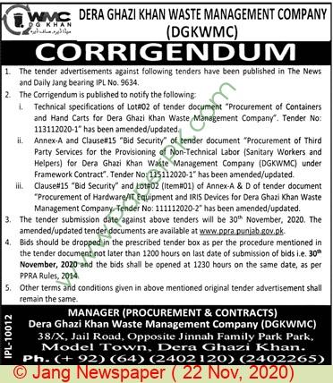 Dera Ghazi Khan Waste Management Company Dera Ghazi Khan Tender Notice