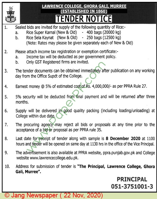 Lawrence College Murree Tender Notice