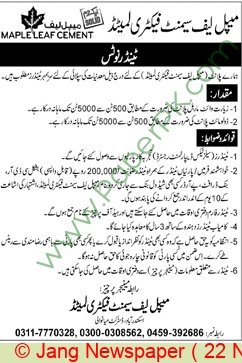 Maple Leaf Cement Factory Limited Mianwali Tender Notice